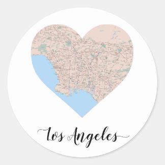 Los Angeles-Herz-Karte Runder Aufkleber