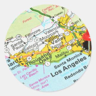 Los Angeles, Kalifornien Runder Aufkleber