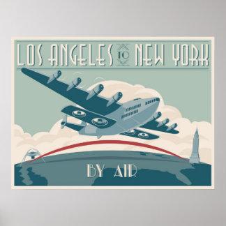 Los Angeles nach New York auf dem Luftweg Poster
