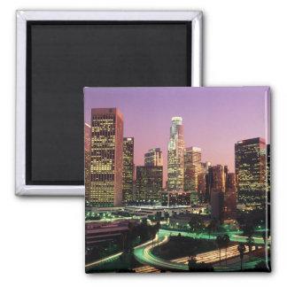Los Angeles-Nachtlichter Quadratischer Magnet