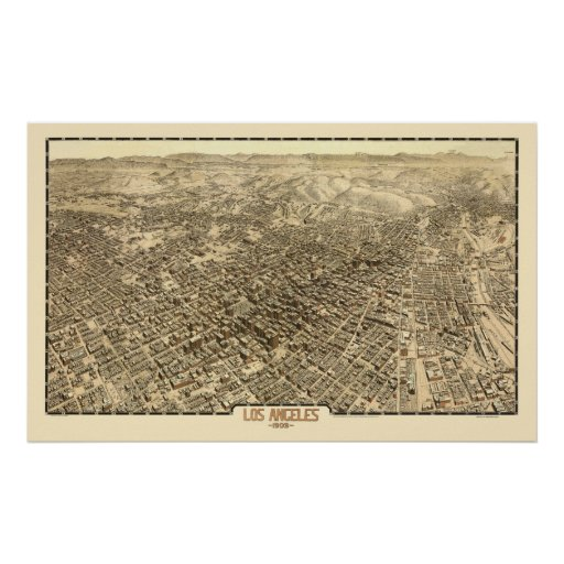 Los Angeles, panoramische Karte CAs - 1909 Plakatdruck