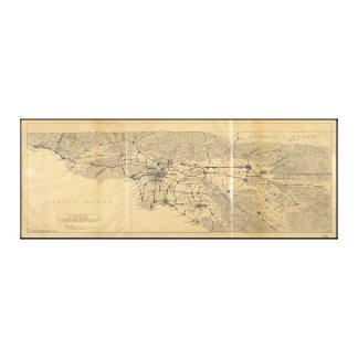 Los Angeles u. San- Gabrielberge Map (1915) Leinwanddruck