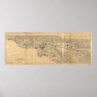 Los Angeles u. San- Gabrielberge Map (1915) Poster