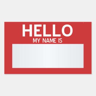 Löschen Sie hallo meinen Namen ist… kundengerecht Rechteckiger Aufkleber