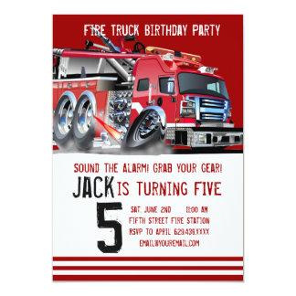 Löschfahrzeug-Feuerwehrmann-Geburtstags-Einladung Karte