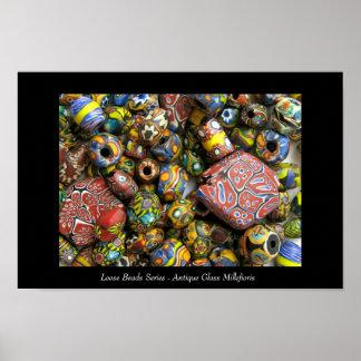 Lose Perlen-Reihe - antikes Millefiori Glas Poster