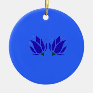 Lotos blau keramik ornament