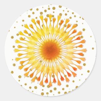 Lotos-Blume Goldgelb-Hochzeit Confetti Runder Aufkleber