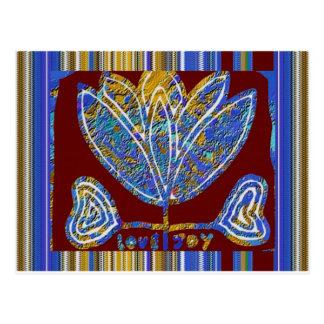 LOTOS-Blume künstlerische Darstellungs-blauer Postkarte