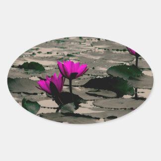 Lotos-Blume Ovaler Aufkleber