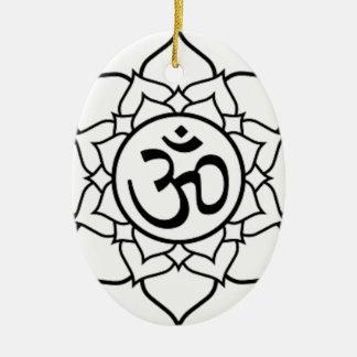 Lotos-Blume, schwarz mit weißem Hintergrund Keramik Ornament