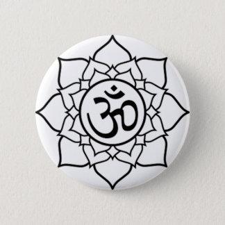 Lotos-Blume, schwarz mit weißem Hintergrund Runder Button 5,1 Cm