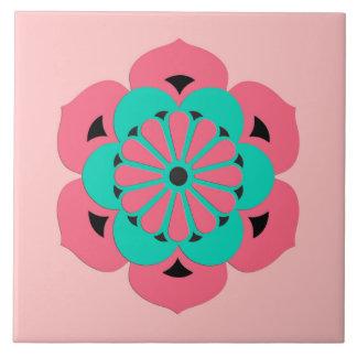 Lotos-BlumeMandala, korallenrotes Rosa und Türkis Keramikfliese