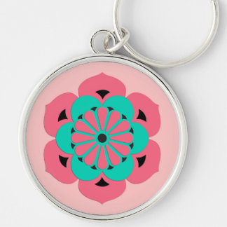 Lotos-BlumeMandala, korallenrotes Rosa und Türkis Schlüsselanhänger