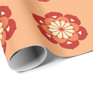 Lotos-BlumeMandala, Pastellorange und Mandarine Geschenkpapier