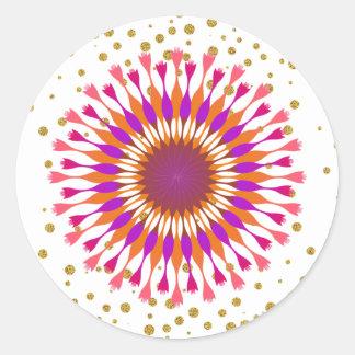 Lotos-Blumen-Goldconfetti-Rosa Runder Aufkleber
