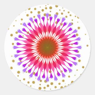 Lotos-Blumen-GoldGlitter-HochzeitConfetti Runder Aufkleber
