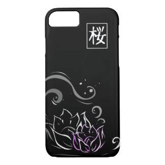 Lotos-Blumen-japanischer Schriftart auf schwarzem iPhone 7 Hülle
