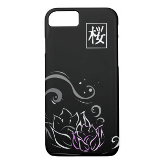 Lotos-Blumen-japanischer Schriftart auf schwarzem iPhone 8/7 Hülle