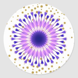 Lotos-Blumen-lila GoldConfetti Runder Aufkleber