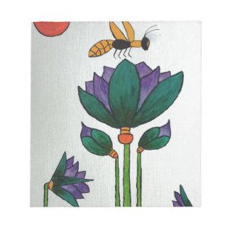 Lotos-Blumen mit Biene Notizblock