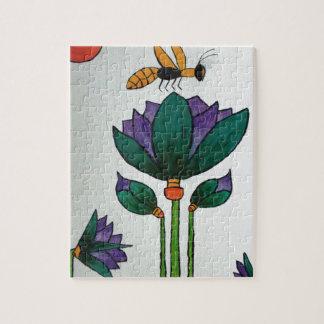 Lotos-Blumen mit Biene Puzzle