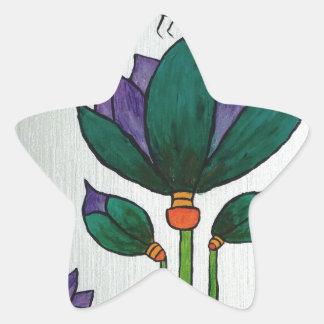 Lotos-Blumen mit Biene Stern-Aufkleber
