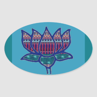 Lotos-Blumen-reine geistige Yoga-Meditation Ovaler Aufkleber