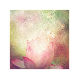 Lotos-Blumen-und Libellen-Leinwand-Druck Leinwanddruck