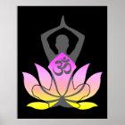 Lotos-Blumen-Yoga-Pose OM Namaste geistige Poster