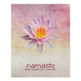Lotos-BlumeWatercolor Namaste Yoga-Meditation Poster