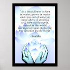 Lotos-Buddha-Blumen-Zitat-blaues Plakat 2