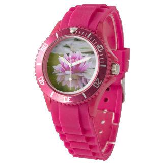 Lotos-Druck-Foto-diamante de imitación-Detailuhr Armbanduhr