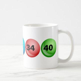 Lotterie-Bälle, 3, 18, 23, 34, 40 Tasse