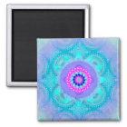 Lotus-Blüten-Türkis-Mandala ID129 Quadratischer Magnet