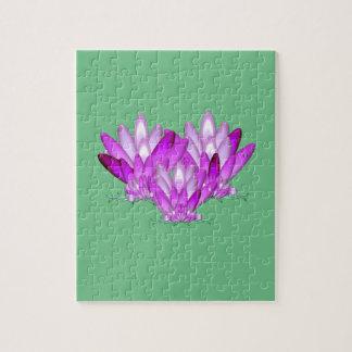 Lotus-Blütenrosa auf Meergrünhintergrund Puzzle