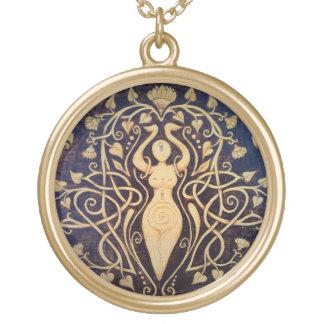 Lotus-Göttin-Anhänger - großes Gold Vergoldete Kette
