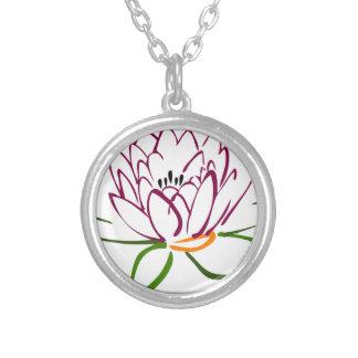 Lotus-Herz Versilberte Kette