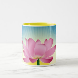 Lotus im Sonnenaufgang Zweifarbige Tasse