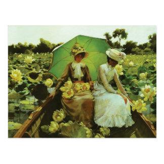 Lotus-Lilien durch Charles Courtney Curran Postkarte