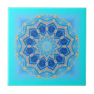 Lotus-Mandala im Türkis und im Blau Fliese