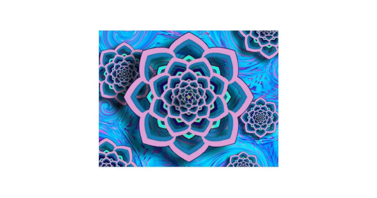 Lotus mandala in der rosa und aqua postkarte postkarte for Badgestaltung fa r kleine ba der