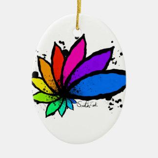 Lotus Ovales Keramik Ornament
