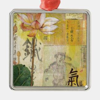 Lotus Qi Quadratisches Silberfarbenes Ornament