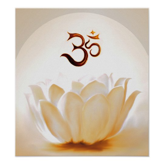 Lotus with Om Poster