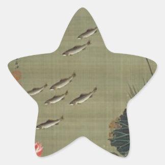 Lotusteich und -fische durch Ito Jakuchu Stern Aufkleber