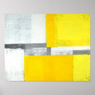 """""""Loud"""" graue und gelbe abstrakte Kunst Poster"""