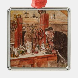 Louis Pasteurexperimentieren Quadratisches Silberfarbenes Ornament