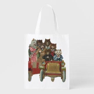 Louis Wain - weiße Katze, die antikes Auto fährt Wiederverwendbare Einkaufstasche