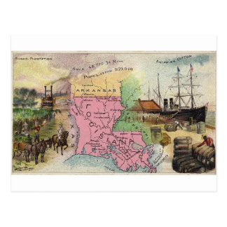 Louisiana, 1889 Vintage Karte